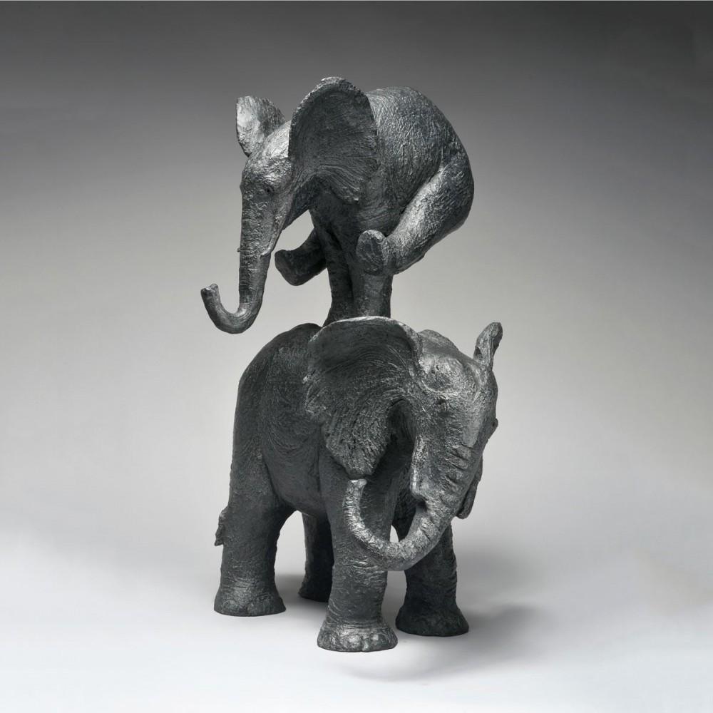 Sculpture de Sophie Verger Éléphant saute ! en bronze