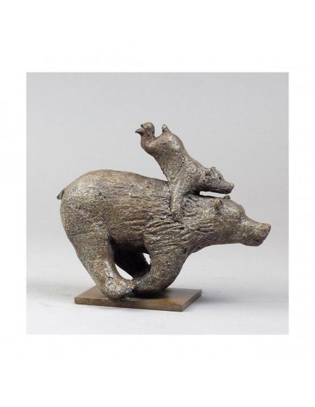 Sculpture de Sophie Verger Quickly en bronze profil droit