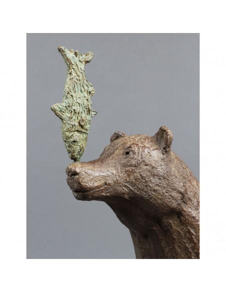 Sculpture de Sophie Verger La course au poisson en bronze, détail tête
