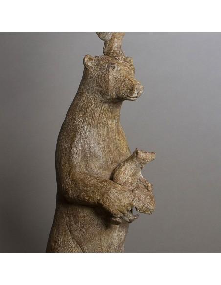 Sculpture de Sophie Verger Les quatre pizzlys en bronze, détail mère