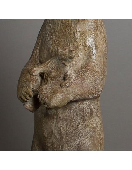 Sculpture de Sophie Verger Les quatre pizzlys en bronze, détail bébé