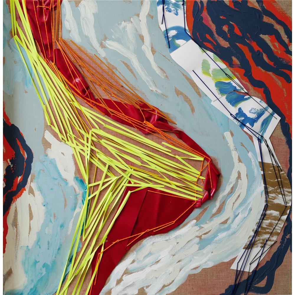 Peinture de Fabienne Decornet Les passagères 1, Technique mixte et textile sur toile de lin