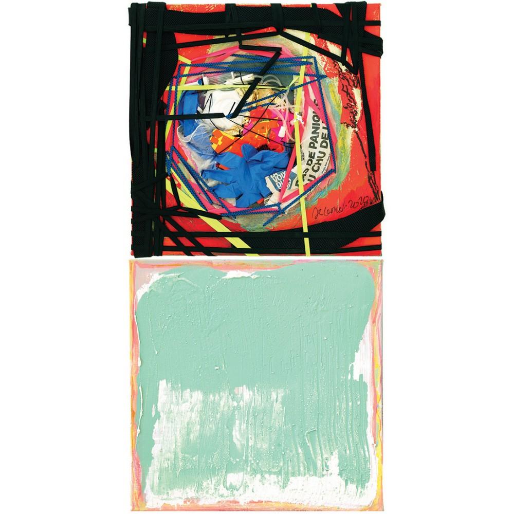 Peinture de Fabienne Decornet Passerelle 19, Technique mixte et fil sur toile