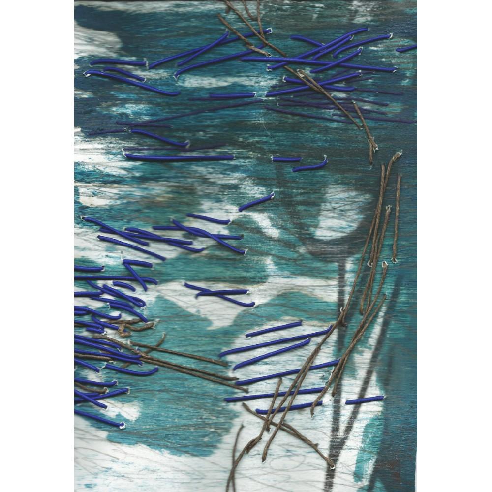 Peinture de Fabienne Decornet Au fil de l'eau 3, Technique mixte et fil sur papier