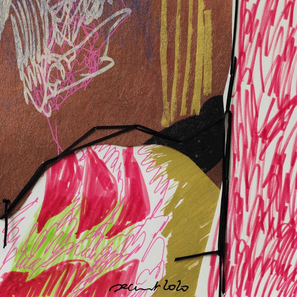 Peinture de Fabienne Decornet OD'AS V, Technique mixte et fil sur papier
